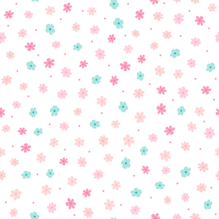 Repeated small cute flowers and round dots. Simple girly floral pattern. Endless feminine print. Vector illustration.