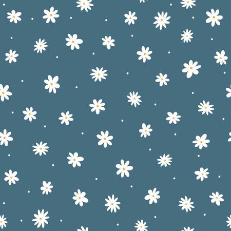 Margaritas dispersas y puntitos redondos. Lindo patrón floral sin fisuras. Estampado femenino repetido. Ilustración vectorial.