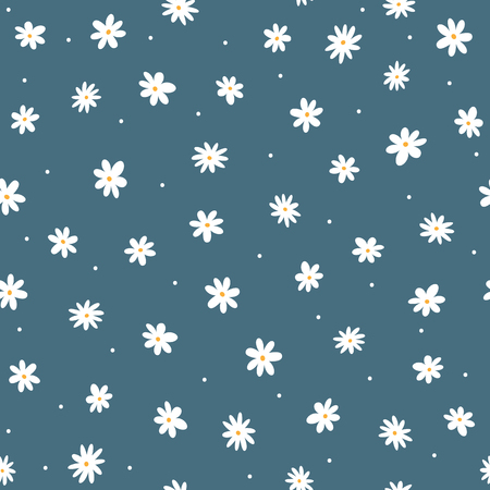 Verspreide kleine madeliefjes en ronde stippen. Leuk bloemen naadloos patroon. Herhaalde vrouwelijke print. Vector illustratie.