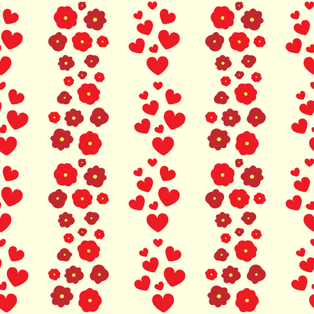 Repeating hearts and flowers. Cute floral seamless pattern. Romantic feminine print. Vector illustration.