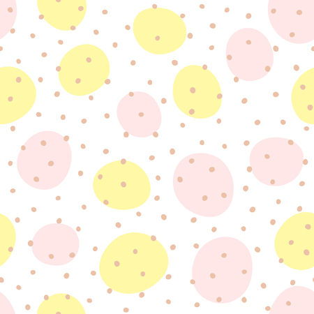 Seamless pattern with repeating rounded coloured dots. White, yellow, pink, brown. Simple vector illustration for children.