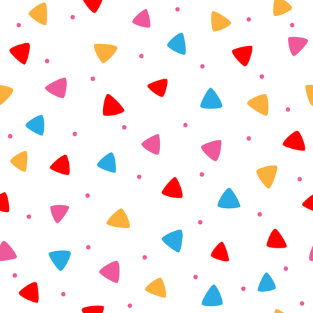 Scattered coloured round dots and triangles. Geometric seamless pattern for children. White, blue, red, purple, orange. Vector illustration.