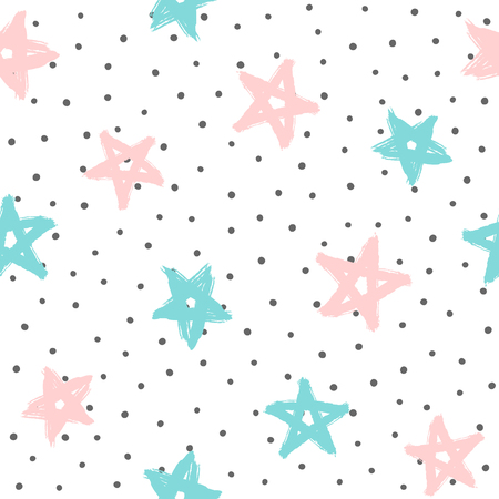 Repeated rounded dots and stars drawn by hand with rough brush. Cute seamless pattern. Grunge, graffiti, sketch, watercolour. Girly vector illustration. White, black, pink, blue.