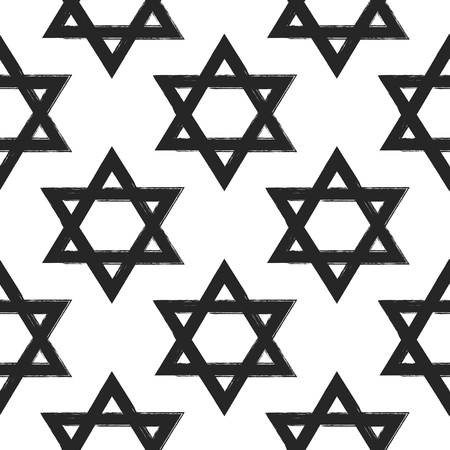 Seamless pattern with Star of David painted with rough brush. Grunge, watercolor, sketch. Vector illustration.