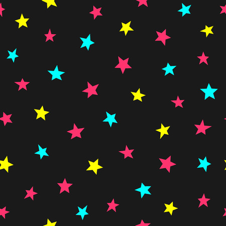 Repeated scattered bright stars. Cute seamless pattern for kids. Endless childish print. Vector illustration.