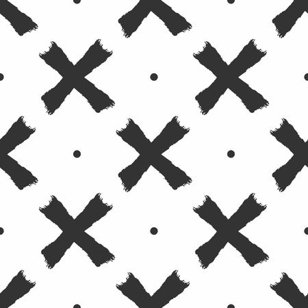 Repeated round spots and crosses drawn by hand with rough brush. Simple seamless pattern. Sketch, grunge, watercolor, paint. Vector illustration.