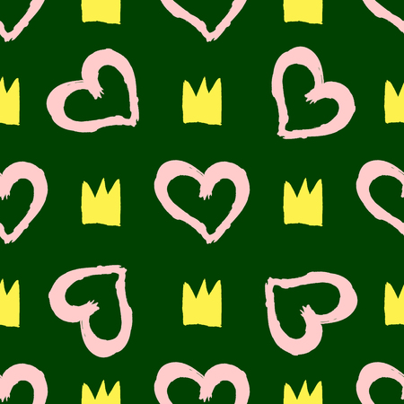 Repeated silhouettes of crowns and outlines of hearts painted with a watercolour brush. Cute seamless pattern. Sketch, grunge, watercolor. Green, yellow, pink. Vector illustration.