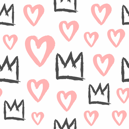 Endless print with crowns and hearts painted with rough brush. Stylish seamless pattern for girls. Grunge, sketch, watercolour, graffiti. Girly vector illustration. Иллюстрация