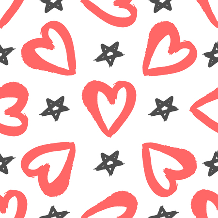 Repeated hearts and stars drawn by hand with rough brush. Stylish seamless pattern for girls. Sketch, watercolor, grunge, graffiti, paint. White, red, black. Trend vector illustration. Иллюстрация