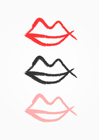 Outline of lips drawn by hand with rough brush. Grunge icon, symbol, logo. Sketch, watercolor, paint, graffiti. Vector illustration.