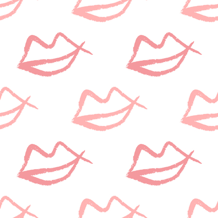 Repeating outlines of lips drawn by hand with rough brush. Cute seamless pattern. Sketch, watercolor, graffiti. Simple girlish print. Girly vector illustration. Иллюстрация