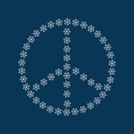 Symbol of peace made up of snowflakes drawn by hand. White sign isolated on blue background. Vector illustration.