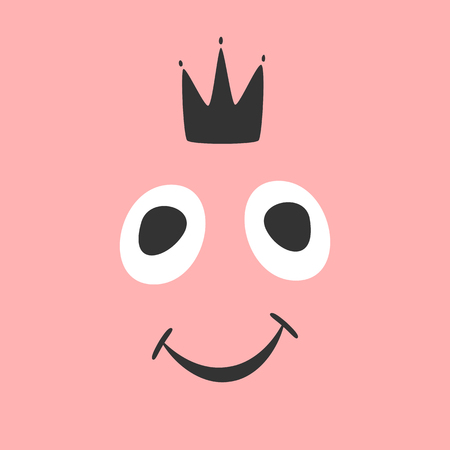 Funny smiling face and crown. Drawn by hand, sketch. Girly print, poster, card, banner, sticker. Vector illustration.