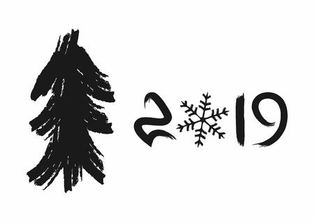 Christmas tree and number 2019 with snowflake drawn by hand with a rough brush. Grunge, watercolour, sketch, graffiti, paint. Simple vector illustration for New Year design.
