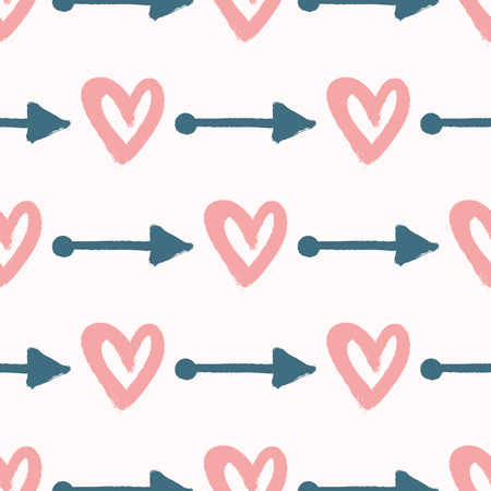 Repeating hearts and arrows drawn by hand with watercolour brush. Cute seamless pattern. Sketch, graffiti, watercolor, paint. Romantic vector illustration.
