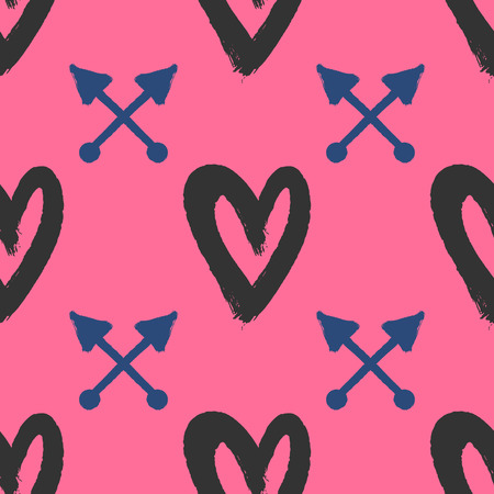 Repetitive hearts and crossed arrows drawn by hand with rough brush. Stylish seamless pattern. Sketch, watercolor, paint. Cute vector illustration. Illustration
