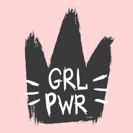 Silhouette of crown and abbreviated text Girl Power. Sketch, watercolour, grunge, graffiti. Vector illustration.