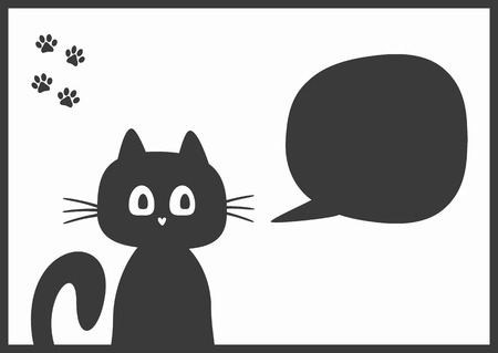Simple horizontal background with frame, funny kitten, speech bubble and cat paws print. Vector illustration for kids.