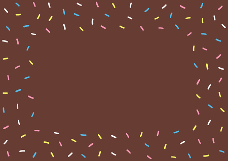 Cartoon texture of chocolate donut glazing. Rectangular colorful background for kids. Cute vector illustration.