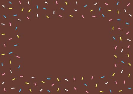 Texture de dessin animé de glaçage de beignet au chocolat. Fond coloré rectangulaire pour les enfants. Illustration vectorielle mignon.