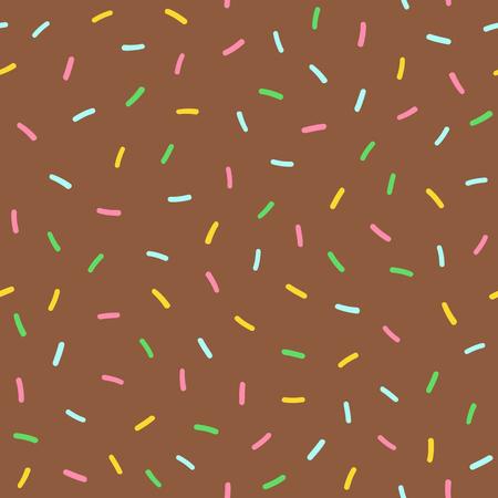 Texture of chocolate icing donut. Sweet seamless pattern. Endless print for kids. Cartoon vector illustration. Иллюстрация