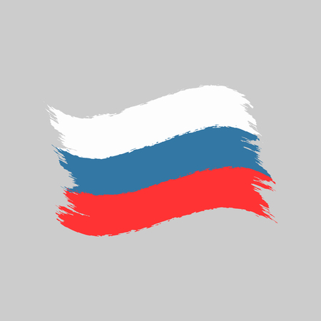 Flag of Russian Federation painted with watercolor brush. Isolated symbol of Russia. Grunge, sketch, graffiti. Vector illustration.