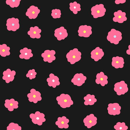 Repeating flowers drawn by hand with rough brush. Feminine floral seamless pattern. Sketch, watercolour, paint. Girly vector illustration. Illustration