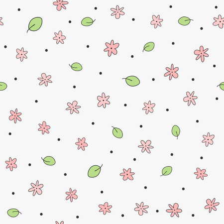 Cute floral seamless pattern. Feminine print with flowers, leaves and round dots. Girly vector illustration. Ilustración de vector