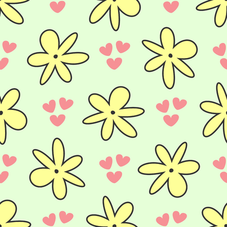 Repeating abstract flowers and hearts. Cute floral seamless pattern. Simple vector illustration. Vektorgrafik