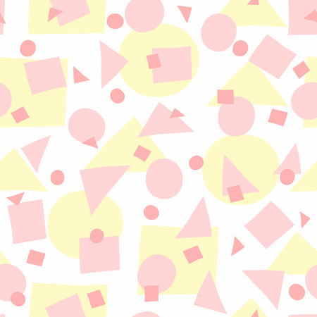 Repeated irregular geometric shapes. Simple girly seamless pattern with uneven circles, triangles and squares. Vector illustration. White, yellow, pink.