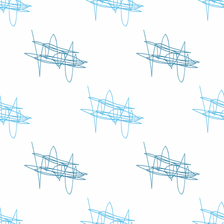 Repeated abstract scrawl drawn by hand. Simple seamless pattern with scribbles. Vector illustration for childrens.