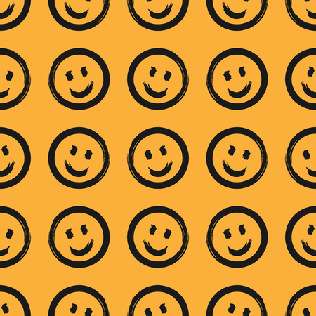 Seamless pattern with round smiling emoticons drawn by hand with rough brush. Sketch, grunge, watercolor. Fun print. Vector illustration. Иллюстрация