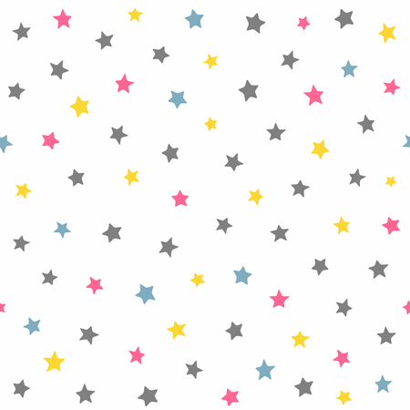 Repeated coloured stars. Cute seamless pattern for kids. Colorful vector illustration. Иллюстрация