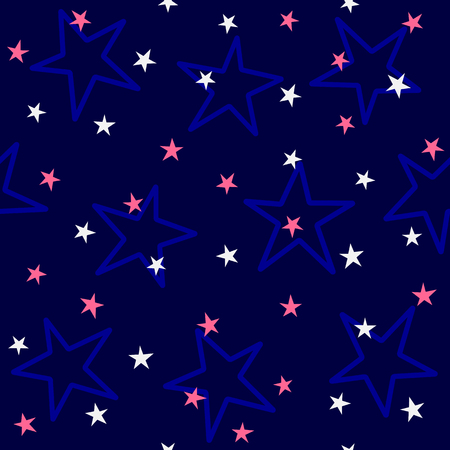 Repeated colored stars. Cute color seamless pattern for kids. Simple vector illustration. Иллюстрация