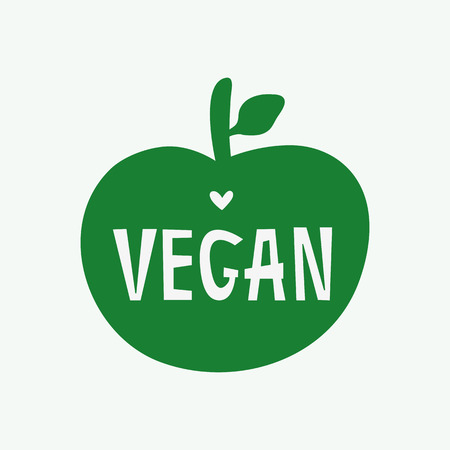 Silhouette of apple with text Vegan and heart. Vegetarian logo, print, sticker, symbol, label, poster. Simple vector illustration. Illustration