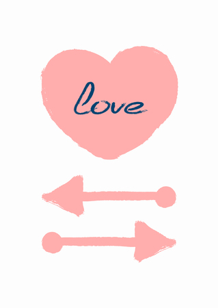 Handwritten text Love, heart and arrow drawn by hand with a rough brush. Romantic poster, card, print. Sketch, paint, watercolor. Cute vector illustration. White, pink, blue.