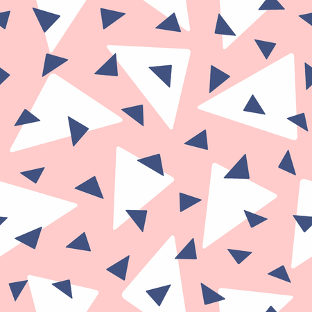 Seamless pattern with randomly repeating triangles. Simple vector illustration.
