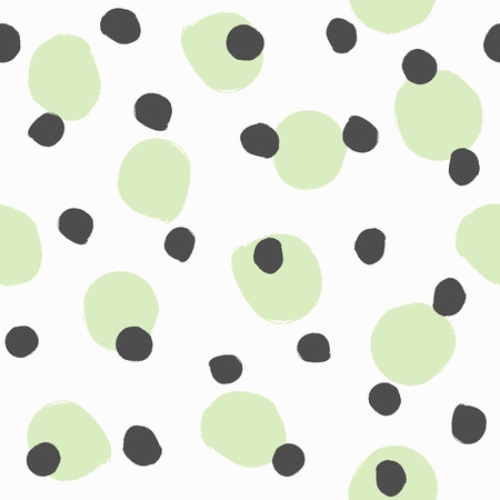 Seamless pattern with repeating round spots painted with watercolour brush. Grunge, watercolor, sketch. White, green, black. Simple vector illustration.