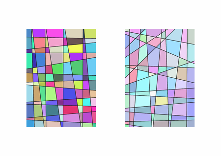 Set of two vertical templates with irregular lines and colorful fragments. Trendy multicolor vector illustration.
