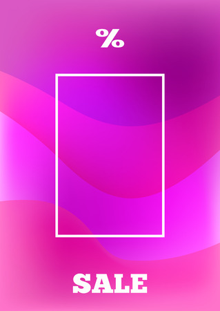 Background with frame, text Sale and percent sign. Purple template for design. Vector illustration.