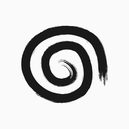 Uneven round spiral drawn by hand with a rough brush. Sketch, ink, watercolor, paint. Grunge icon, symbol, sign, element, logo. Isolated vector illustration.