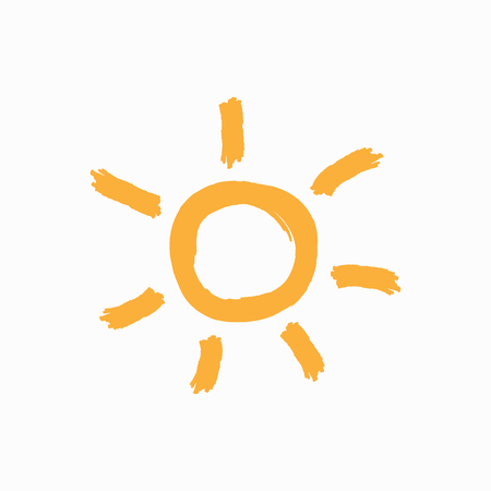 Cute sun drawn by hand by a rough brush. Icon, logo, symbol. Sketch, watercolor, grunge, paint. Isolated vector illustration.