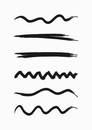 Set of curved lines drawn by hand with a rough brush. Sketch, grunge, watercolour, paint. Collection of black isolated elements. Vector illustration. Illustration