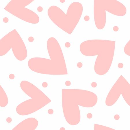Romantic seamless pattern with cute hearts and round dots. Endless girlish print. Simple vector illustration. Vektoros illusztráció