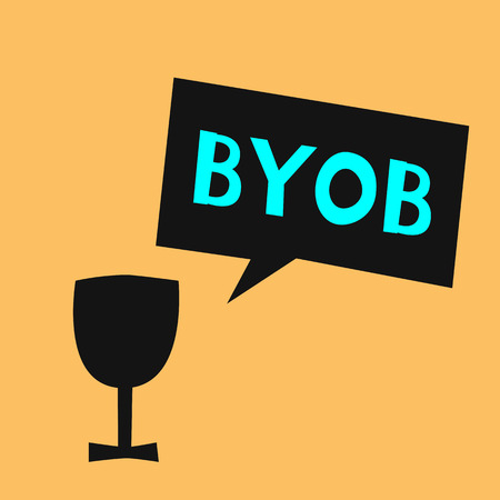 Silhouette of glass and speech bubble with text abbreviation BYOB - Bring Your Own Bottle. Simple vector illustration.