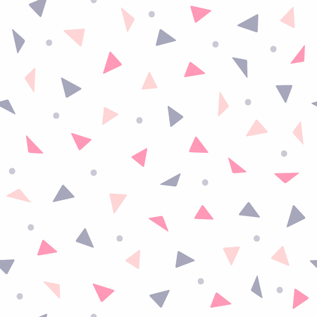 Repeating triangles and dots. Geometric seamless pattern for girls. Simple vector illustration.