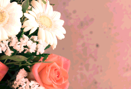 Creative rectangular floral background. Horizontal photo with original effect and blur.