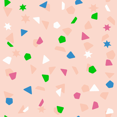 Seamless pattern with color confetti. Festive print. Brown, white, blue, green, purple. Simple vector illustration.