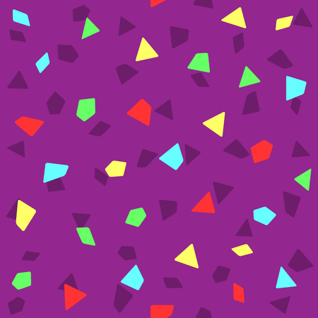 Seamless pattern with bright confetti. Festive print. Purple, blue, red, green, yellow. Simple vector illustration.