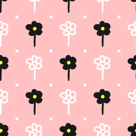 Floral seamless pattern drawn by hand with a rough brush. Sketch, watercolor, grunge. Cute girly print with polka dot flowers. White, black, pink, yellow. Vector illustration.
